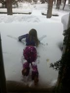 Crazy little sis' PJ snow angel Xmas morning