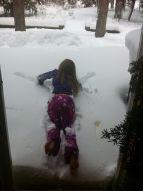 Crazy little sis' PJ snow angel Xmas morning
