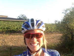 Pre-race bike among the vineyards! Happy gal!