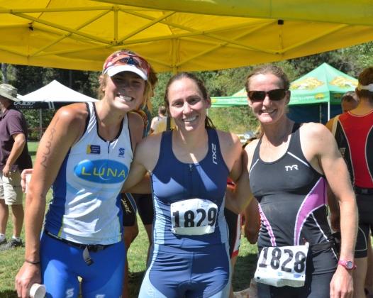 Overall women's podium: Me (3rd), Julie Baker (1st), Genevieve Evans (2nd)