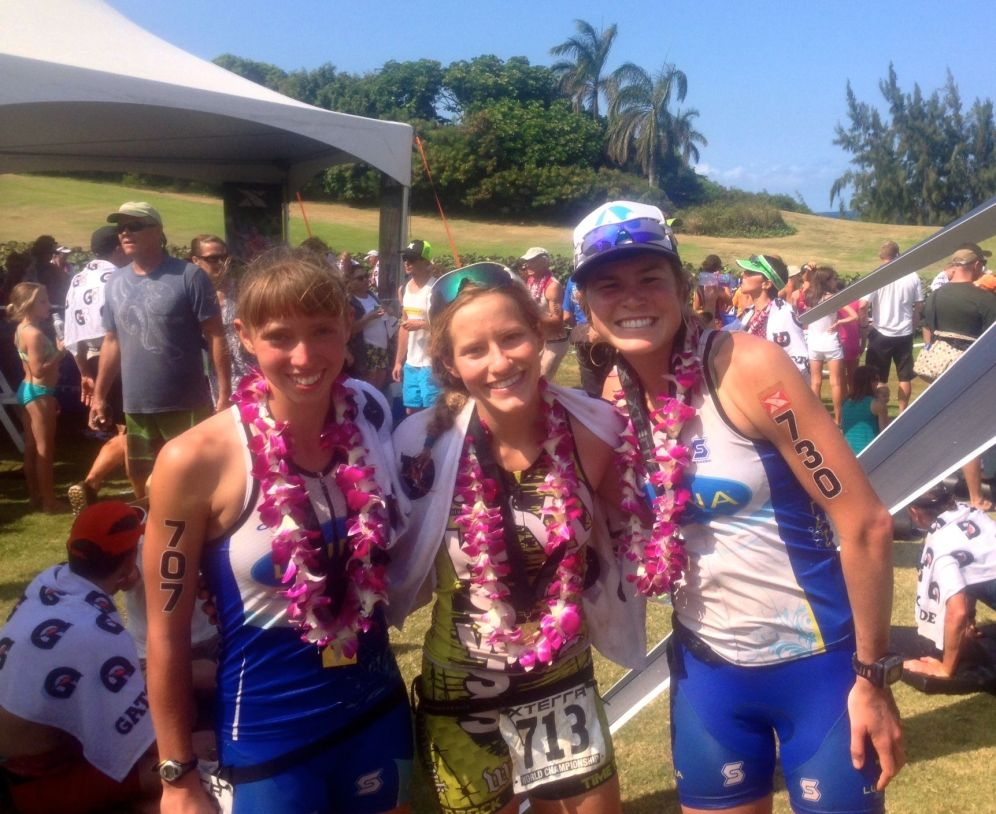 Hannah Rae Finchamp (1), Liz Gruber (5), Me (3): each of us Age Group World Champions!