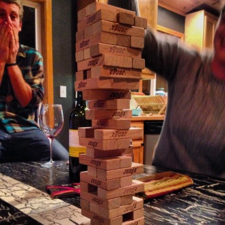 Epic post-dinner-party Jenga game.