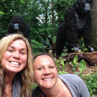 Linds and me with the gorilla plant statues at Atlanta Botanical Gardens