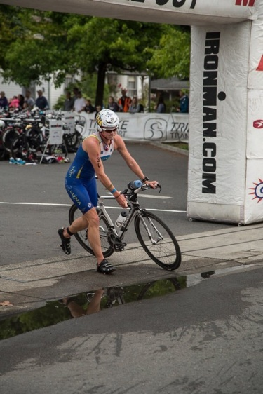 Heading onto the bike after a strong swim! Photo by Daniel Tomko