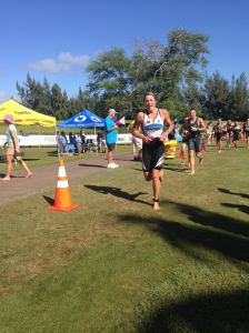 Running up to T1 -- happy to be out of the water! Photo by Mark Nadell