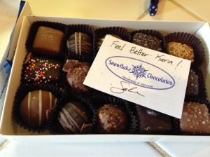 Handmade chocolates make for a GREAT care package! Thanks Sabra!