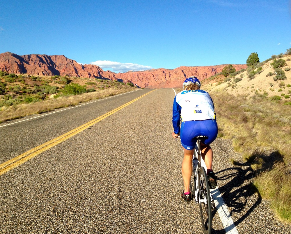 Taking in the St. George beauty on a pre-ride. Photo by August Teague.