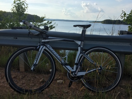 Finally reunited with this beauty just in time for a pre-ride on part of the bike course! Jordan Lake in the background, where we swam.