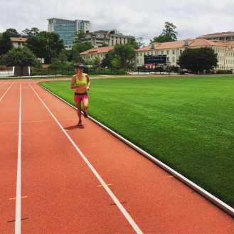 Doing some hard work on the track at Emory University