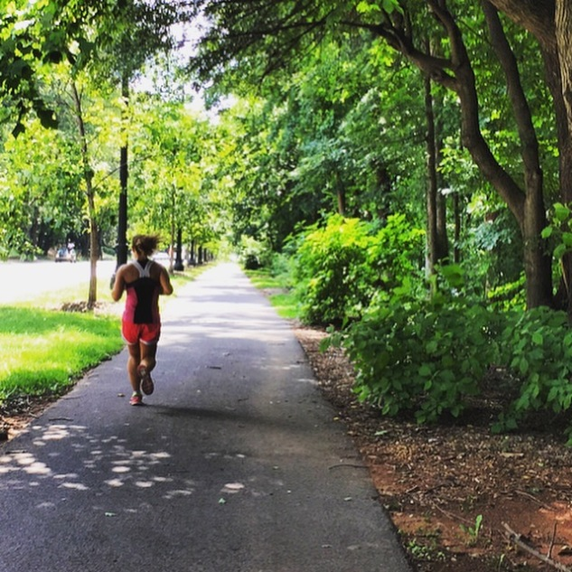 Lindsay charging on our 21-mile run through Atlanta like it was NBD...