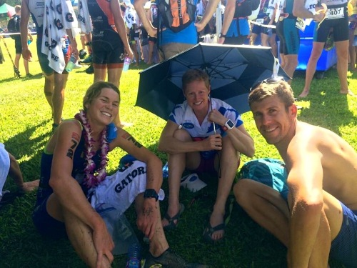 Enjoying the finish line bliss with two key members of my support crew, Suzie and August. Photo by Margie LaPoint